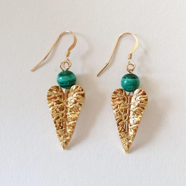 Boucles d'oreilles forme feuille et malachite