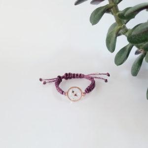 Bague ajustable macramé plaqué or rose fleur de tamaris