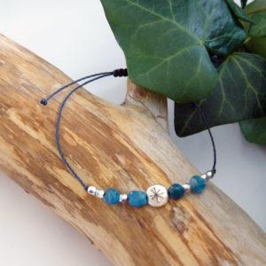 Bracelet fin ajustable avec apatite et constellation