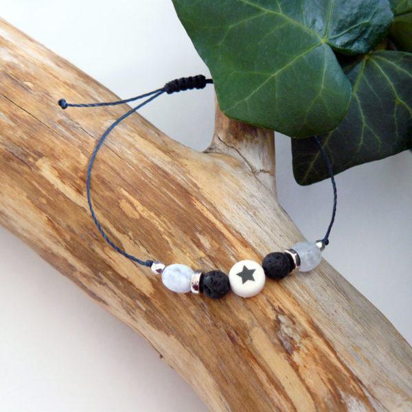 Bracelet ajustable avec calcédoine et pierre de lave étoile