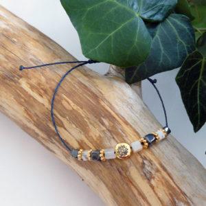 Bracelet fin avec perles en citrine et hématite, motif mandala