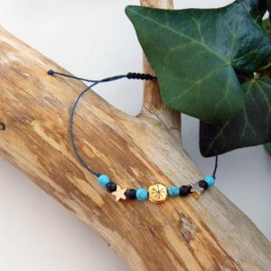 Bracelet ajustable avec perles turquoise et en pierre d'onyx, motif constellation