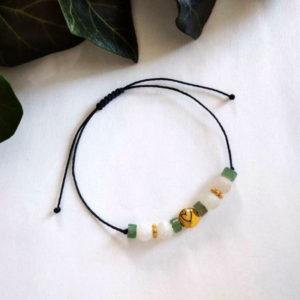 Bracelet ajustable avec pierre de péridot et agate cœur
