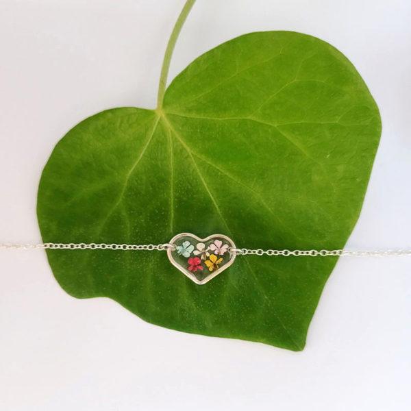Bracelet argent 925 médaillon coeur ammi majus sur feuille