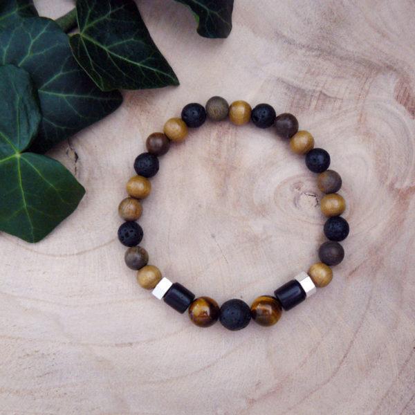 Bracelet avec perles en bois, pierre de lave et œil de tigre