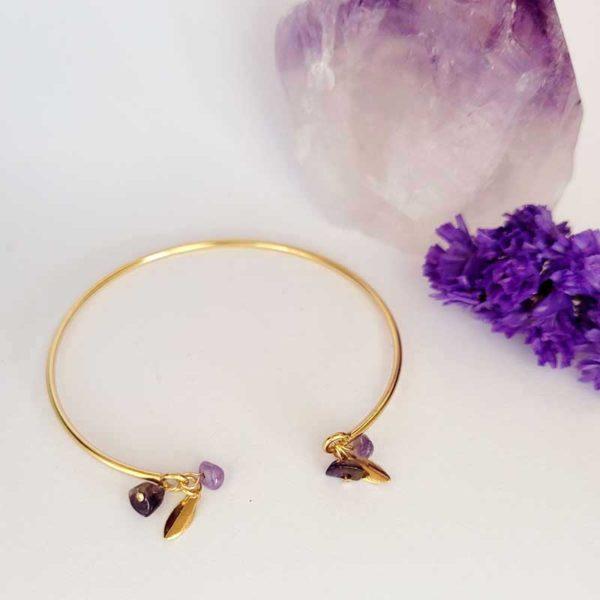 Bracelet jonc gold filled pierre fine améthyste