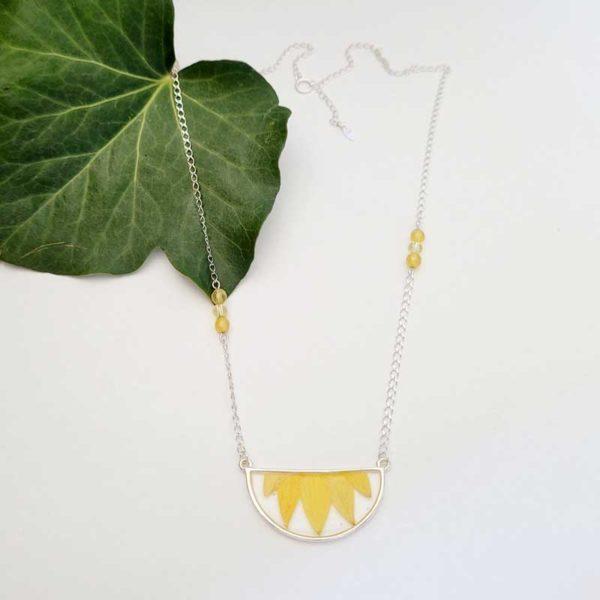 Collier argent 925 pierre de citrine et agate jaune et pétale de fleur de tournesol