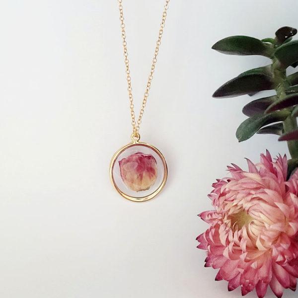 Collier plaqué or bouton de rose