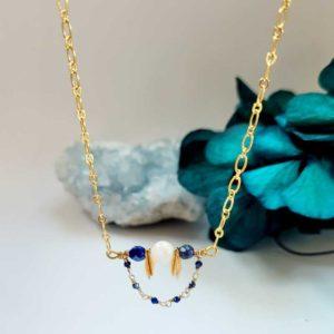 Collier plaqué or avec pierre de lune et lapis lazuli de l.Créative