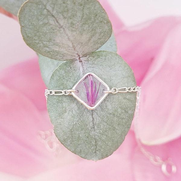 Bracelet en argent 925 avec fleurs de chardon rose