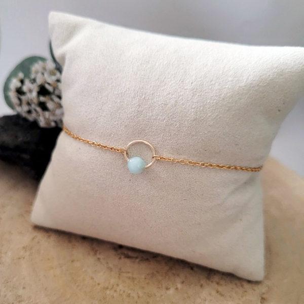 Bracelet fin avec pierre d'amazonite