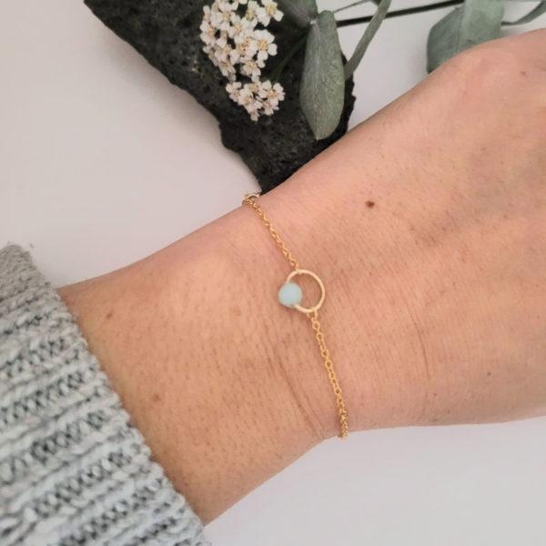 Bracelet fin avec pierre d'amazonite porté